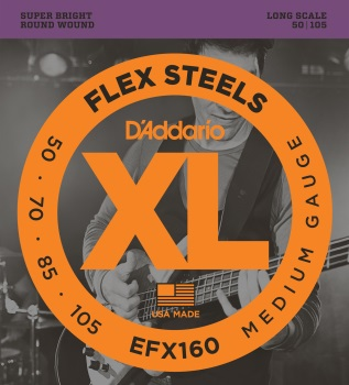 DADDARIO EFX160 FlexSteels Bass Guitar Strings, Medium, 50-105, Long Scale