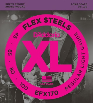 DADDARIO EFX170 FlexSteels Bass Guitar Strings Light, 45-100 Long