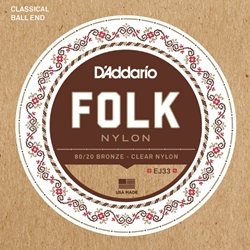 DADDARIO EJ33 Set Folk Clr Nylon 80 20 Ball